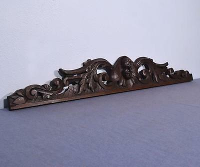 """*49"""" French Antique Highly Carved Pediment/Crest in Oak Wood with a Man's Face"""