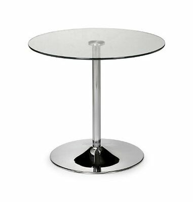 Julian Bowen Kudos Chrome and Glass Pedestal Dining Table