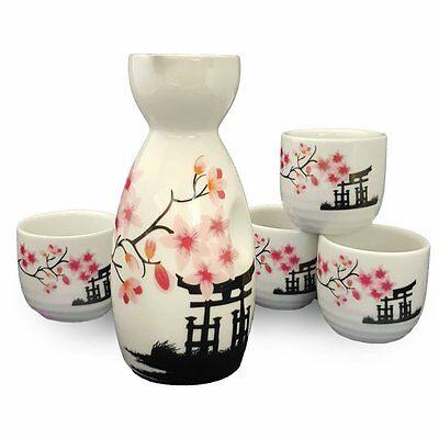 Happy Sales HSSS-CBWP31, Perfect 5 Piece White and Pink Blossom Japanese Sake