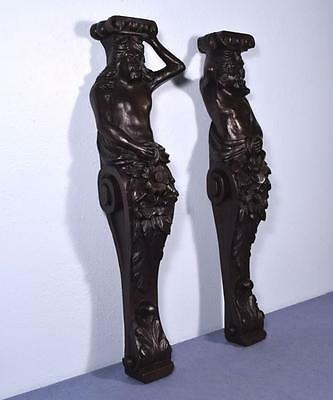 """*30"""" Pair of French Antique Oak Figures/Support Pillars Architectural Salvage"""