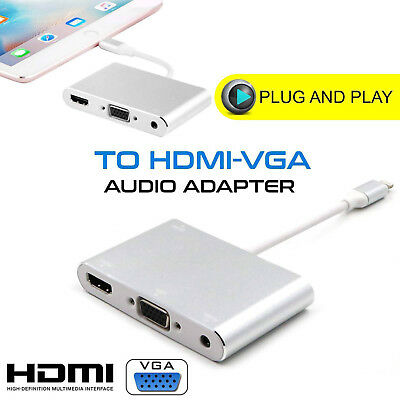 AV Cable Adapter to HDMI VGA Audio Video TV For iPad Pro Mini Air iPhone 7 6S 6