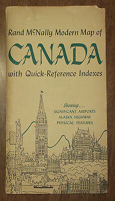 Vintage Rand McNally Modern Map of Canada Reference - Alaska Highway Airports