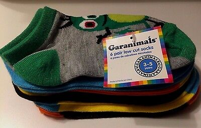 Garanimals Toddler Boys' 6 pair low cut socks - Critters - Size 3-5 Years New