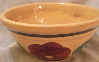 """WATT POTTERY  6"""" Small Bowl; Antique Hard-toFind Hand-Painted 'Pansy' Pattern"""