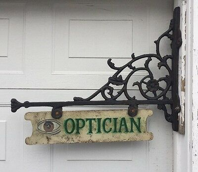 "Antique 31x24"" Cast Iron Optician Optometry Double-Sided Sign w/ Bracket EXC!"