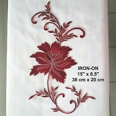 Burgundy Silver Flower Cosplay Iron-on Embroidered Floral Badge Patch Applique