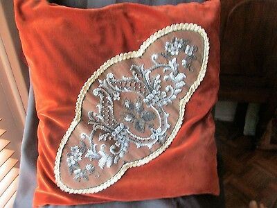 ANTIQUE  Beaded Pillow / vICTORIAN VELVET AND BEAD PILLOW