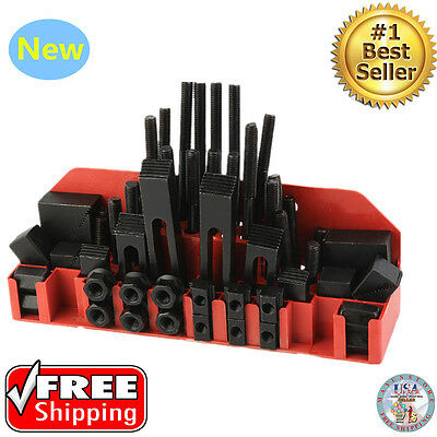 "58 Pc Pro-Series 7/16"" T-Slot Clamping Kit Bridgeport Mill Set Up Set 3/8-16 New"