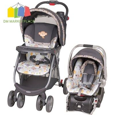 Baby Stroller Car Seat Combo Travel System Infant Rear Facing Canopy Safety NEW