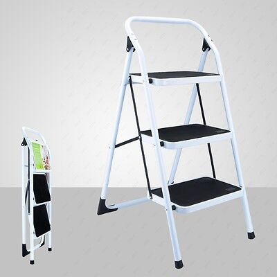New Non-slip 3 Step Ladder Folding Platform Stool 330lbs Load Capacity