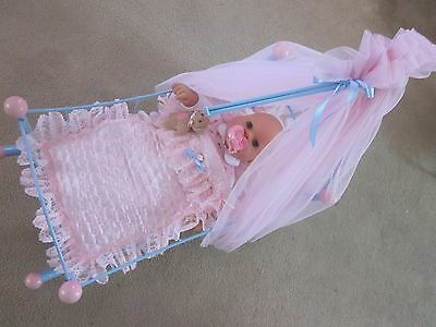 Gorgeous Zapf Creations Baby Chou Doll Dressed, Cradle, Cot, Bed -  Reborn