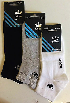 Adidas Black Grey White Colour 3 Pack Trainer Sport Socks Stretch Cotton