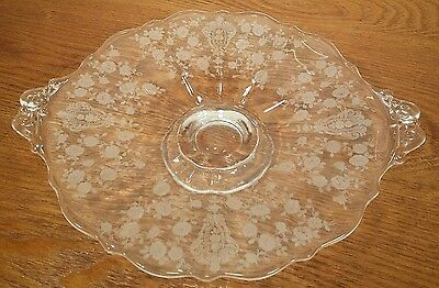 """Cambridge Rose Point Footed & Handled Plate 9 1/2"""""""