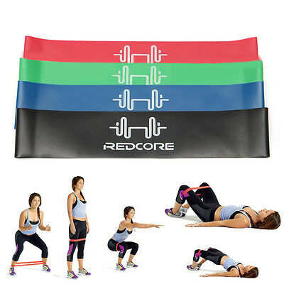 4pc Resistance Loop Bands Exercise Crossfit Strength Fitness Physio Yoga Pilates