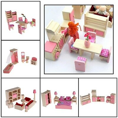 Wooden Furniture Dolls House Miniature 5 Room Set Doll Toy Gift For Children New
