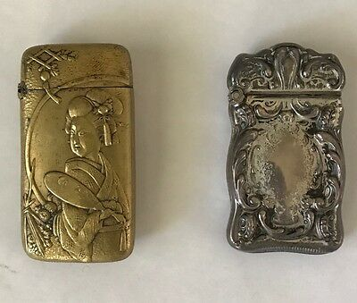 Set Of Two Sterling Antique Match Safe