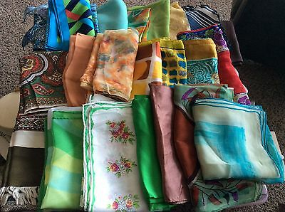 42 MCM Vintage Women's SILK Scarves Designers Hand Rolled Italy Japan Many New