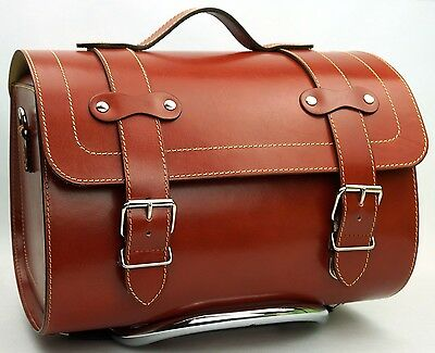 Medium Leather Top Case Roll Bag Vespa Primavera PX LXV GTS GTV Saddle Tan