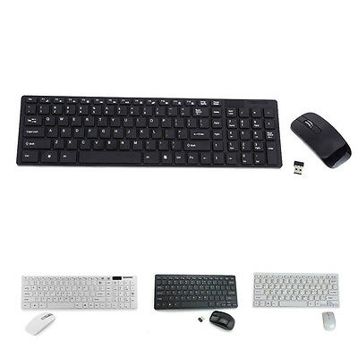 Ultra Thin Black White Wireless Mini Keyboard and Mouse for SAMSUNG SMART TV