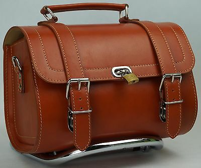 Small Leather Top Case Front Rack Roll Bag Vespa 946 LXV GTS GTV Honey Brown Tan