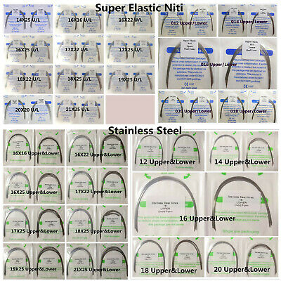 Orthodontic Bracket Arch Wires Rectangular Niti Stainless Steel Oval Dental 10Pk