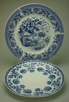Pair of Blue & White Dinner or Dresser Plates One Branded Heathcote China KC227