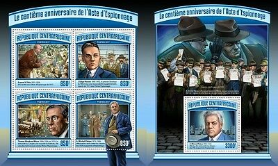 Z08 CA17102ab CENTRAL AFRICA 2017 Espionage Act MNH Mint Set