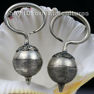 Tribal exotic chinese handmade miao silver earring