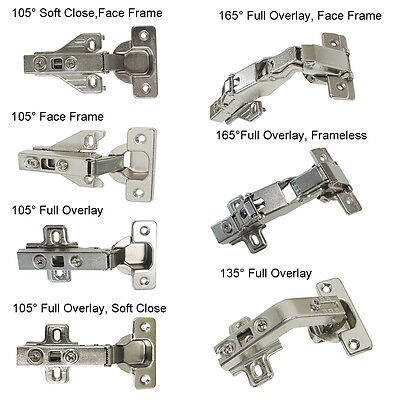 General/Soft Close Cabinet Hinges 105°/135°/165° Degree Frame/Frameless