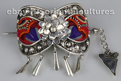 Chinese minority people's old hand embroidery miao silver headgear hairpin