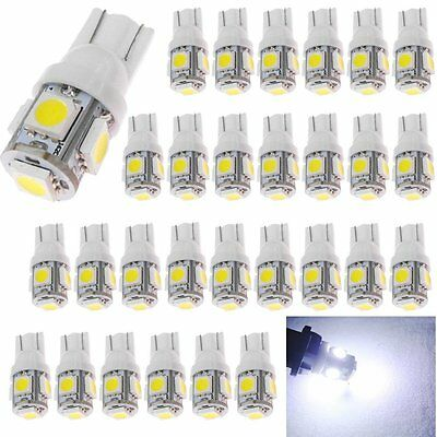 50Pcs Car T10 LED 5smd Wedge Side License Reverse Light White W5W 168 192 Bulbs