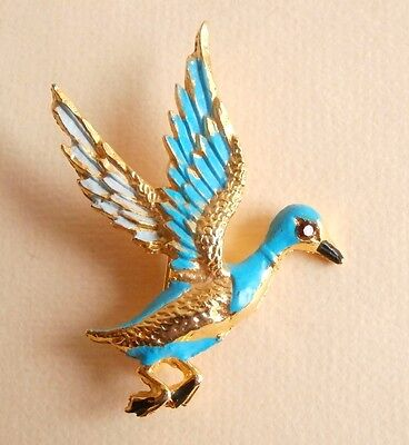 Vintage Turquoise Enamel Gold Tone Duck Bird Brooch Gift Bag