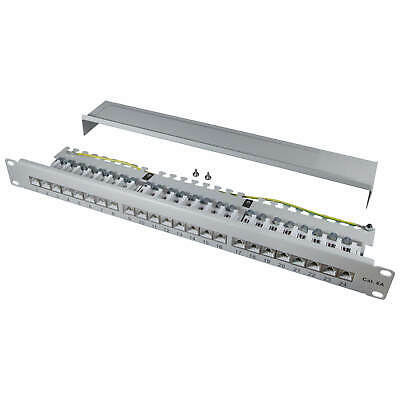 "ProfiPatch Patch panel Cat.6A 500MHz 24 Port RJ45 shielded 19"" 1U grey 10 GB LAN"