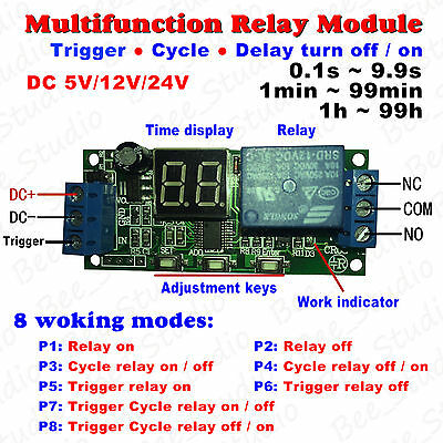 DC 5V 12V 24V Digital LED Cycle Timer Delay Time Relay Switch Turn ON/OFF Module