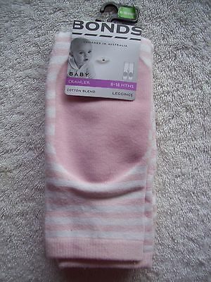 BNWT Baby Girl's Bonds Pink & White Footless Tights/Leggings Size 0 6-12 Months