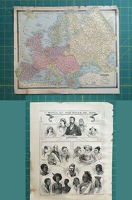 Europe Races of Men Lithograph Rare Original 1885 Antique Crams World Atlas Maps