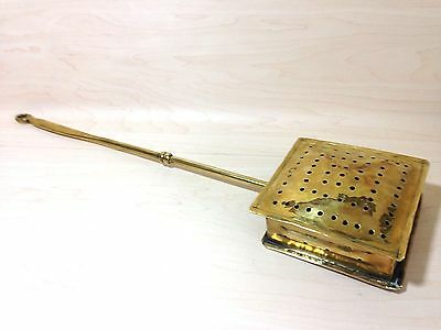 Rare Early Victorian - Square! Brass Chestnut Roaster - C1890 - Normally Round