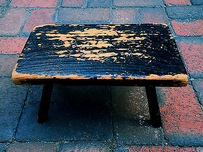 Antique - Cute Little Black Wooden Foot Stool - Hand made - Primitive
