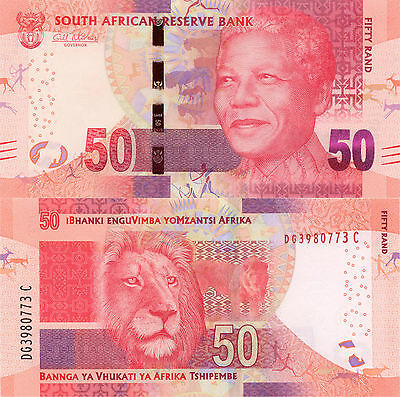 South Africa 50 Rand (2012) - Mandela/Lion/p140 with Omron Circles UNC