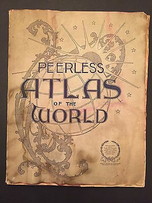 1898 Peerless Atlas Of The World  Antique Fold Out Maps Mast Crowell Kirkpatrick
