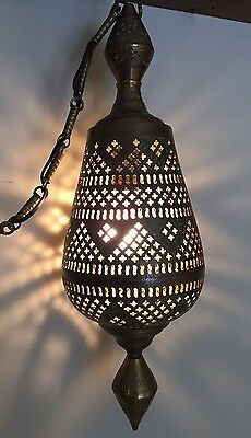Vintage Pierced Solid Brass Middle Eastern Hanging Swag Pendant Lamp ELECTRIC