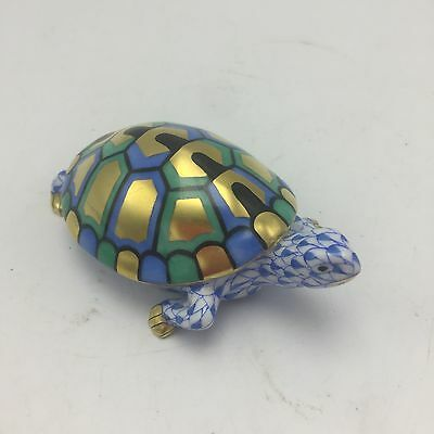 """Herend Blue Fishnet Hand painted Turtle Figurine 4 1/2 x 1 1/2"""" $275"""