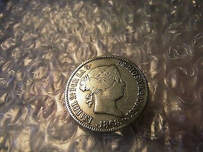 Spain 1868 Philippines 50 Silver Centavos Isabel Coin