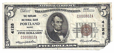 $5.00 Circulated 1929 NATIONAL BANK NOTE Portland, ME.T1 Charter #4128