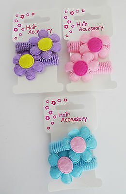 2 x Cute Daisy Flower MINI Ponios Endless Hair Elastic Bobbles Blue Pink Lilac