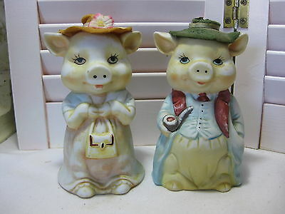 Vintage Pair Mr. & Mrs. Pig Novelty Porcelain Bisque Bells