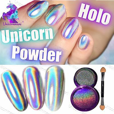 15 microns UNICORN HOLOGRAPHIC POWDER extra fine Rainbow Nails Mirror Chrome UK