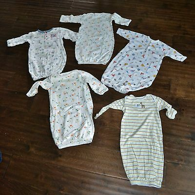 5 PC Sleeper Gown Lot Newborn 0-3M Carters