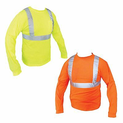ANSI Class II Reflective Safety Yellow/ Orange Long Sleeve T-Shirt HIGH VIZ