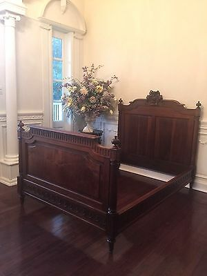 Gorgeous Antique French  Carved Double Walnut Bed, Signed Dufin.....rare